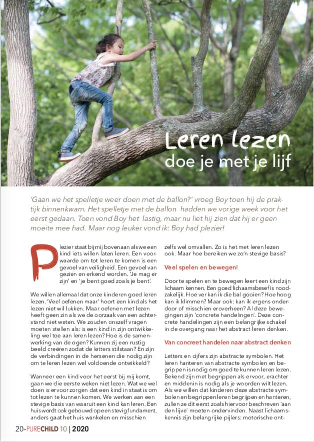 PureChild artikel uit 2020 met Marijke Van Vuure, O,zo lezen